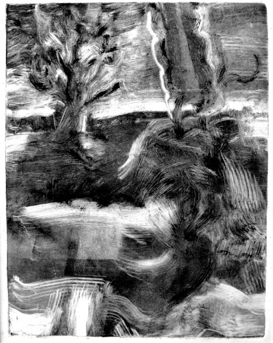 "Twilight, from ""Are Animals Animals,"" monotype by Eric Waldemar"