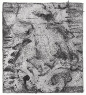 A dinosaur shuffles along in a cloud of dust. Etching/monotype by Eric Waldemar.
