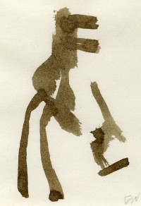 gestural brown ink drawing by Eric Waldemar, suggestive of Dinosaur and pointing finger