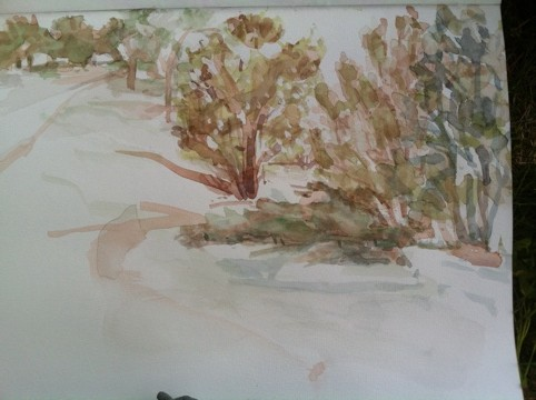 watercolor by Eric Waldemar. Some trees, a path.